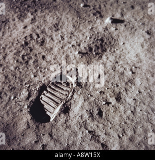 NASA Moon landing. Astronaut Neil Armstrong's first step footprint in lunar soil. - Stock Photo