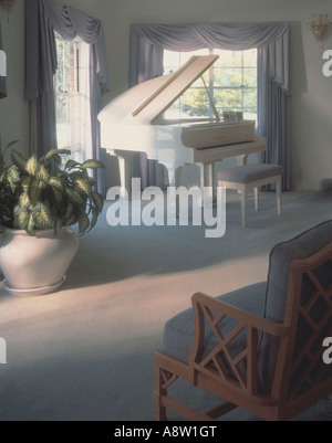 White grand piano in contemporary modern lounge room interior. - Stock Photo