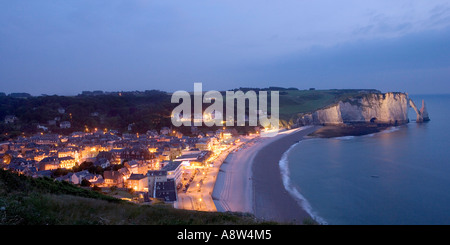 France, Normandy, Etretat, View of Etretat at night - Stock Photo