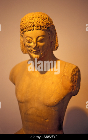 Rampin Horseman Statue in the Acropolis Museum in Athens, Greece - Stock Photo