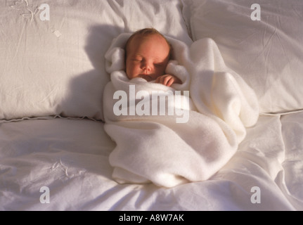 Baby 2-3 weeks on bed wrapped in white blanket in morning light - Stock Photo