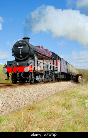 Steam Train Leander 5690 on its approach to the Harringworth viaduct (Rutland) April 2006 Colour - Stock Photo