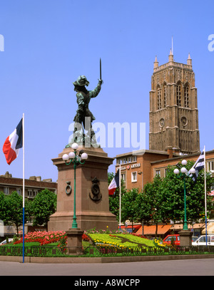 France. Nord. Dunkirk. Place Jean Bart - Stock Photo