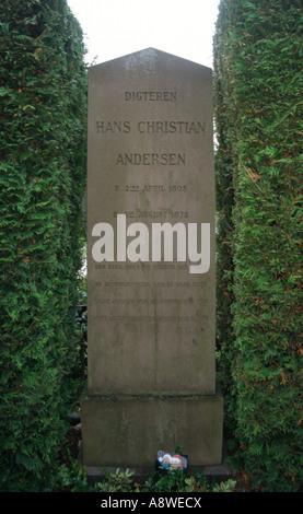 Hans Christian Andersen`s grave in  Assistens Kirkegård cemetery in Copenhagen, Denmark - Stock Photo