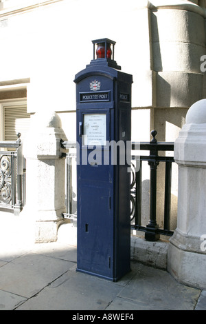 Old Police public call post in London England - Stock Photo