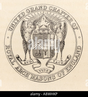 Masonic Seal United Grand Chapter London 1817 - Stock Photo