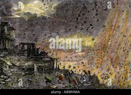 Destruction of the ancient city of Pompeii by Mount Vesuvius 79 AD. Hand-colored woodcut - Stock Photo