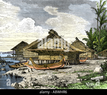 Native village of Warus Warus Ceram in the Moluccas or Spice Islands of the East Indies. Hand-colored woodcut - Stock Photo