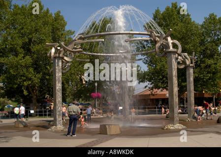 USA, Washington, Spokane, Riverfront Park, Interactive water fountain - Stock Photo