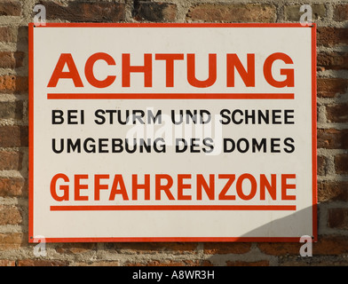 Munich, Bavaria, Germany. Notice by Cathedral 'Beware:...' - Stock Photo