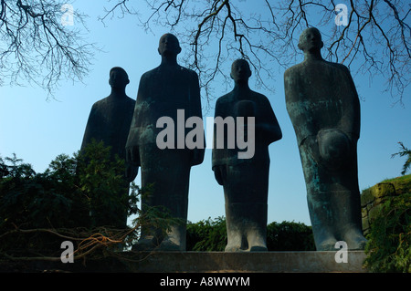 Statues of German soldiers at the Langemark military cemetery, Belgium. Sculptures by Emil Krieger. - Stock Photo