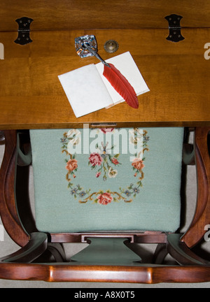 Writing Desk viewed from above - Stock Photo