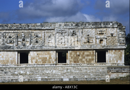 Mexico Yucatan State Uxmal Quetzalcoatl Chac Mask Sculpted At The Nunnery Quadrangle - Stock Photo