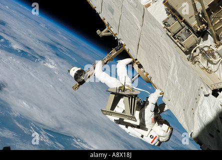Astronaut Piers J Sellers working on the International Space Station - Stock Photo