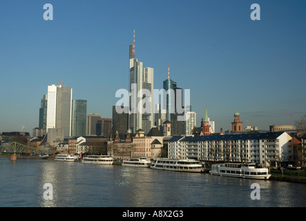 Frankfurt skyscrapers in morning - Stock Photo