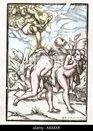 Death follows Adam and Eve as they are expelled from the Garden of Eden - Stock Photo