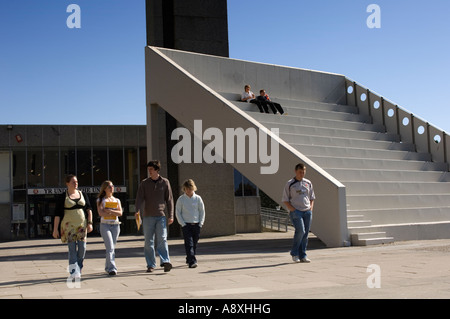 Students walking past large concrete steps 'la scala' outside Aberystwyth Arts Centre on the campus of the University - Stock Photo