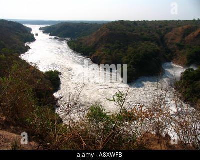 Victoria Nile flowing towards Lake Albert below Murchison Falls in Murchison Falls National Park Uganda East Africa - Stock Photo