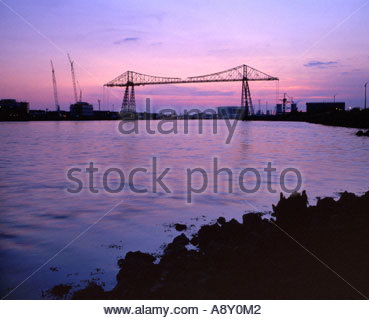 Transporter Bridge at dusk, River Tees, Middlesbrough, Teesside, Cleveland, England - Stock Photo