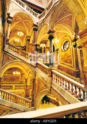 Glasgow City Chambers in George Square. Italianate marble central staircase interior. Scotland, UK - Stock Photo