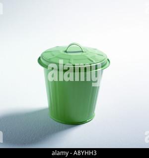Green trash can - Stock Photo