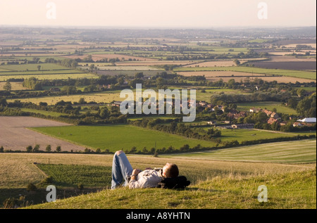 View of Vale of Aylesbuy from ivinghoe Beacon - Buckinghamshire - Stock Photo