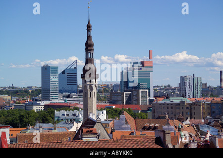 Rooftops of old city and modern high rise buildings Tallinn Estonia - Stock Photo