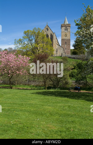 dh Dunblane cathedral DUNBLANE STIRLINGSHIRE Church clock tower riverbank Allan Water springtime cherry blossom trees