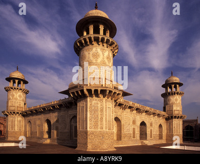 The tomb of Itimad-ud-Daulah, in Agra, Uttar Pradesh, India - 'jewel box in marble' - Stock Photo