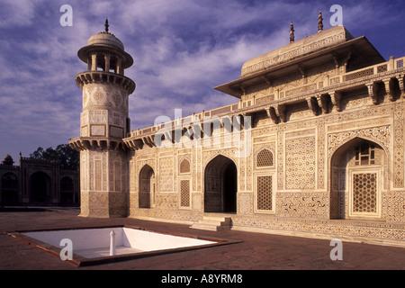 The tomb of Itimad-ud-Daulah, in Agra, Uttar Pradesh, India - 'jewel box in marble' - Stock Photo