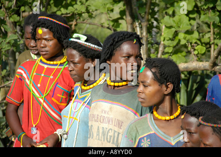 Young women of the Derashe people with colourful necklesses near Arba Minch Ethiopia - Stock Photo