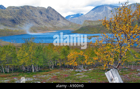 Wind playing over a lake in Jotunheimen during the turning of the seasons / Indian summer, Jotunheimen, Norway - Stock Photo