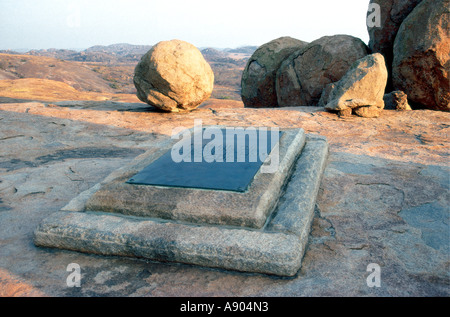 The grave of Cecil John Rhodes at World s view in Matobo National Park Zimbabwe Africa - Stock Photo