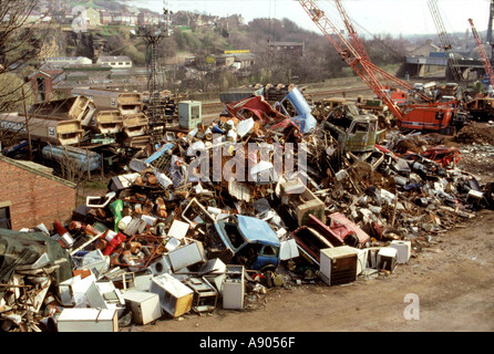 Scrap yard in the UK - Stock Photo