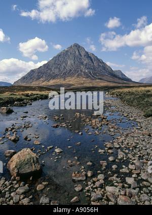 Buachaille Etive Mòr pyramidal mountain at the head of Glen Etive - Stock Photo