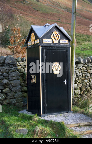 Dunmail Raise near Grasmere Lake District national park AA Automobile Association roadside phone box 487 beside - Stock Photo