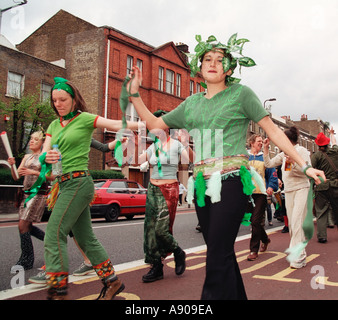 Dancer dressed in green Jay Day 2003 Cannabis march festival London - Stock Photo