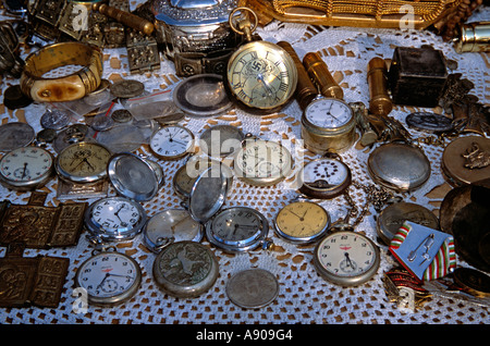 Antique pocket watches for sale on stall, Arbanassi, Bulgaria - Stock Photo