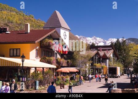 Street Scene In Vail Colorado looking toward the Gore Mountain Range - Stock Photo