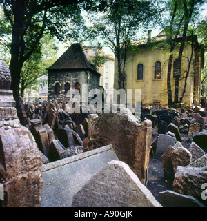Jewish Cemetery in the Old Ghetto in Prague Czech Republic - Stock Photo