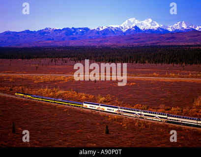 Alaska Railroad and the RCCL Wilderness Express southbound train with Mt. McKinley and the Alaska Range. - Stock Photo