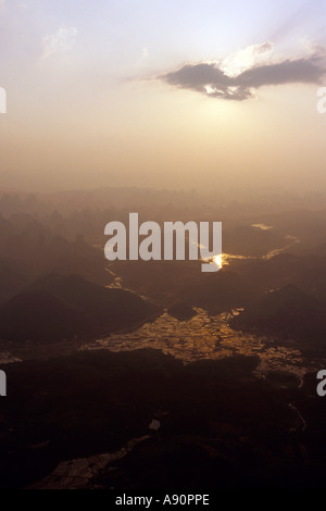 Sunset Over Yangshuo, China, From Hot Air Baloon - Stock Photo