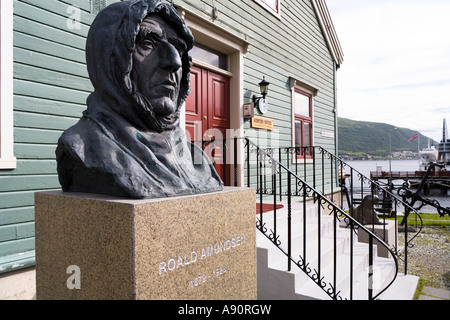 Statue of Roald Amundsen by the harbour at Tromso Norway - Stock Photo