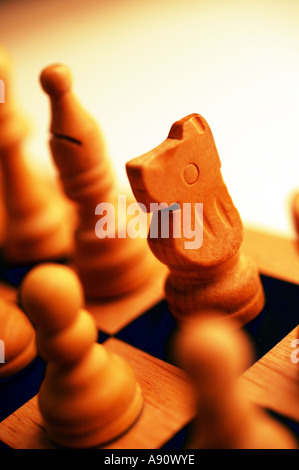 Chess board with white knight - Stock Photo