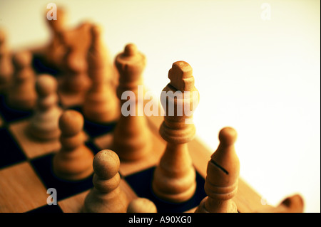 Chess board with white pieces - Stock Photo