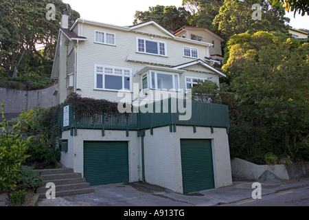 Typical large timber house in Wellington suburbs North Island New Zealand - Stock Photo