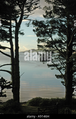 View of the Carrick Roads looking towards Falmouth from Loe Beach, Feock, Cornwall, UK - Stock Photo