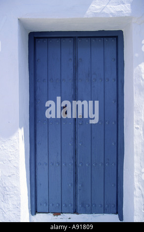 Blue door and white wall in Andalusia village Spain - Stock Photo