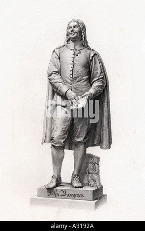 John Bunyan, 1628-1688. English writer and Puritan preacher,author of The Pilgrim's Progress.  From the statue by - Stock Photo