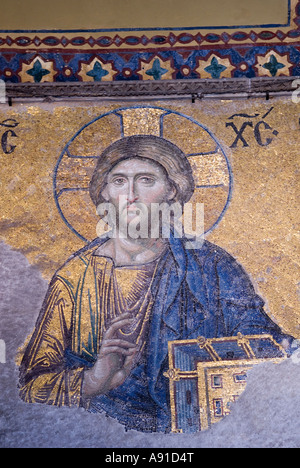South Gallery Mosaic: detail of Christ from Deesis, Hagia Sophia Istanbul. - Stock Photo
